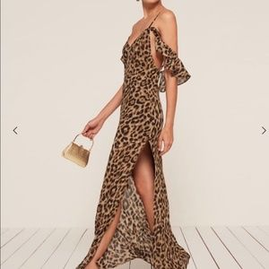 Reformation dresses, animal print maxi, womens